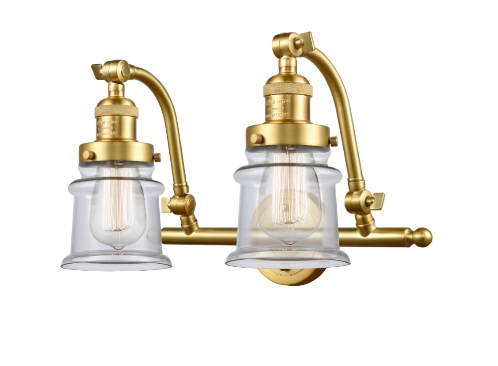 Innovations Lighting-515-2W-SG-G182S-LED-Small Canton - 18 Inch 7W 2 LED Bath Vanity  Satin Gold Finish with Clear Glass