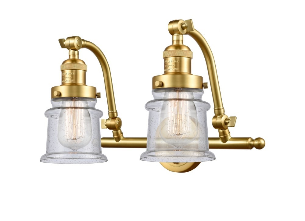 Innovations Lighting-515-2W-SG-G184S-LED-Small Canton - 18 Inch 7W 2 LED Bath Vanity  Satin Gold Finish with Seedy Glass
