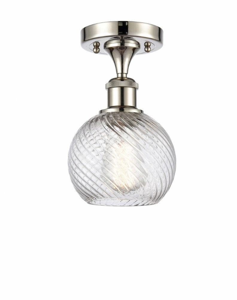 Innovations Lighting-516-1C-PN-G1214-6-Small Twisted Swirl - 1 Light Semi-Flush Mount  Polished Nickel Finish with Clear Glass