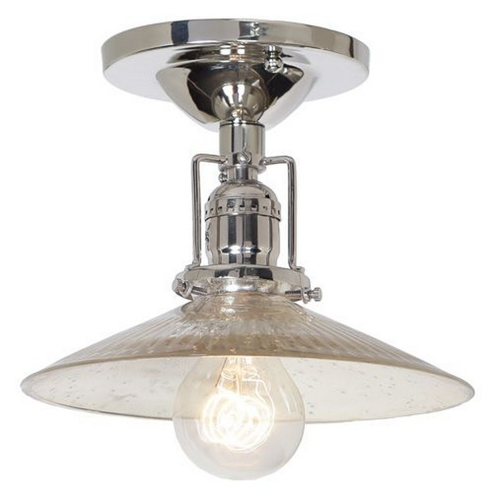 "JVI Designs-1202-15 S1-SR-Union Square - One Light Flush Mount Polished Nickel Finish 8"" Wide, Mouth Blown Glass Shade"