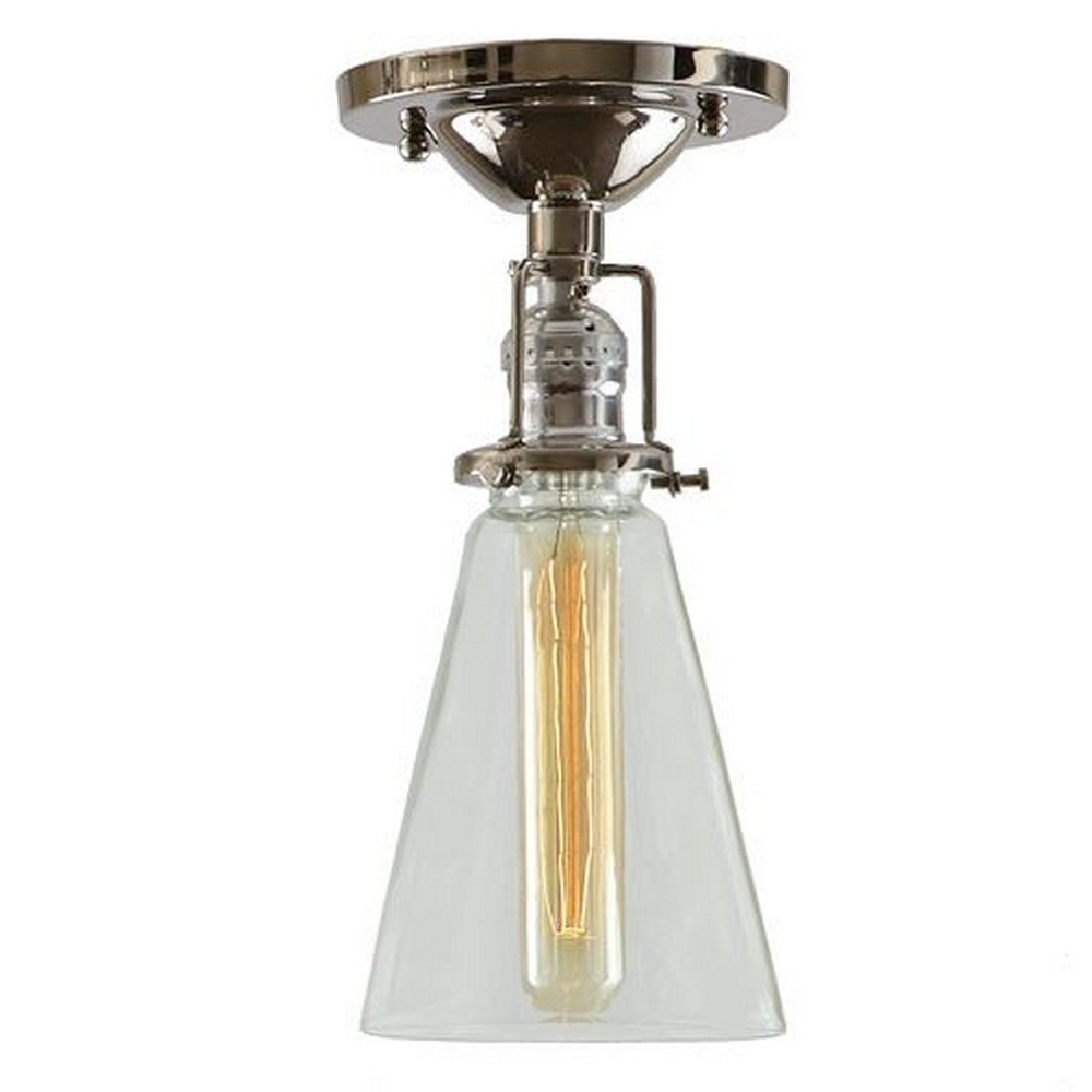 "JVI Designs-1202-15 S10-Union Square - One Light Flush Mount Polished Nickel Finish 7"" Wide, Clear Mouth Blown Glass Shade"