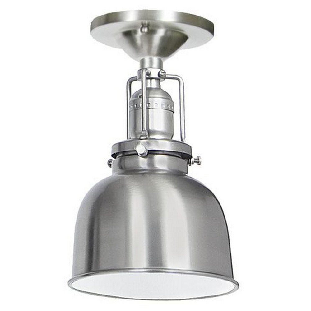 "JVI Designs-1202-17 M2-Union Square - One Light Flush Mount Pewter Finish 5"" Wide Metal Shade, Inside Finish White"