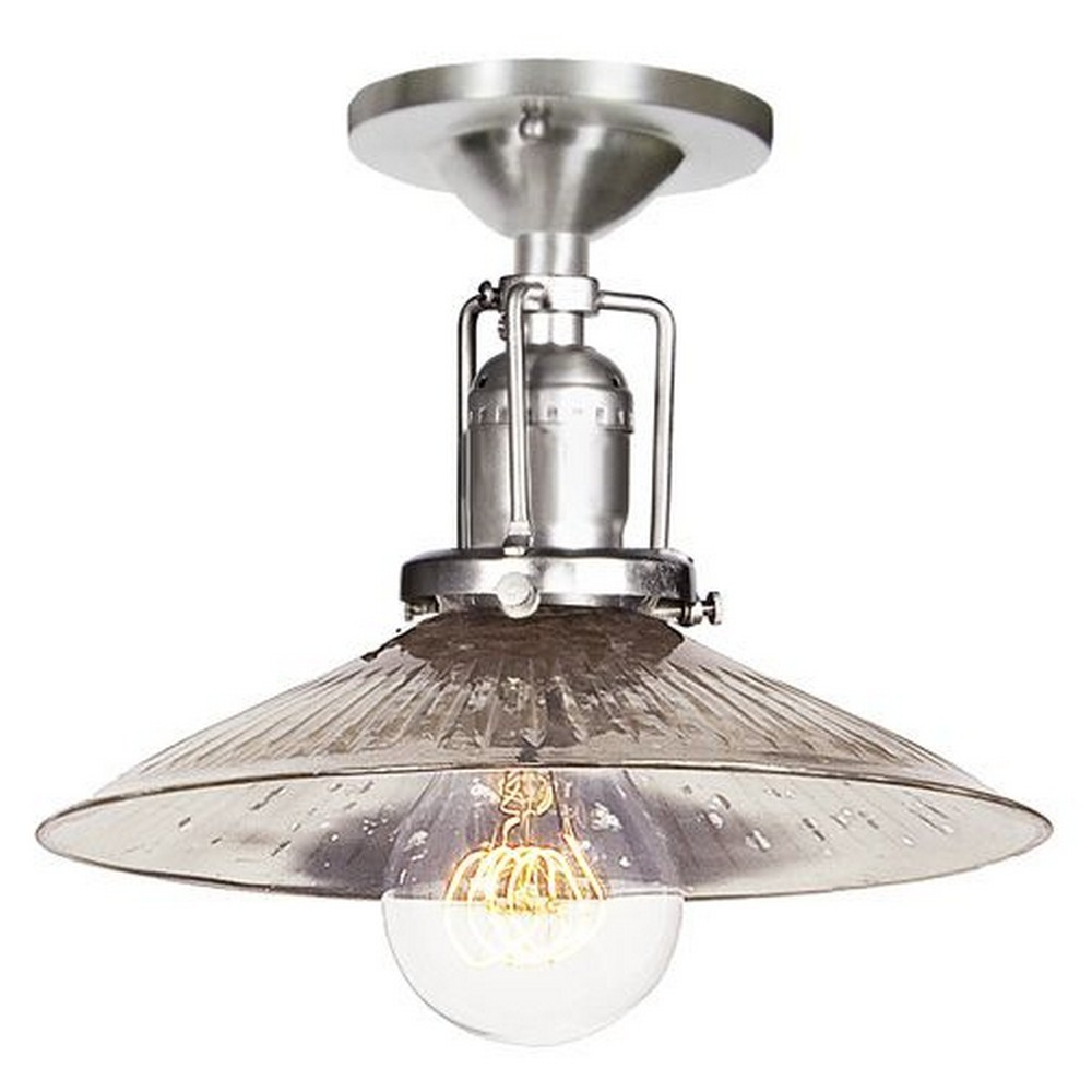 "JVI Designs-1202-17 S1-SR-Union Square - One Light Flush Mount Pewter Finish 8"" Wide, Mouth Blown Glass Shade"