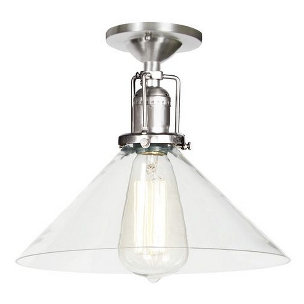 "JVI Designs-1202-17 S2-Union Square - One Light Flush Mount Pewter Finish 10"" Wide, Mouth Blown Glass Shade"