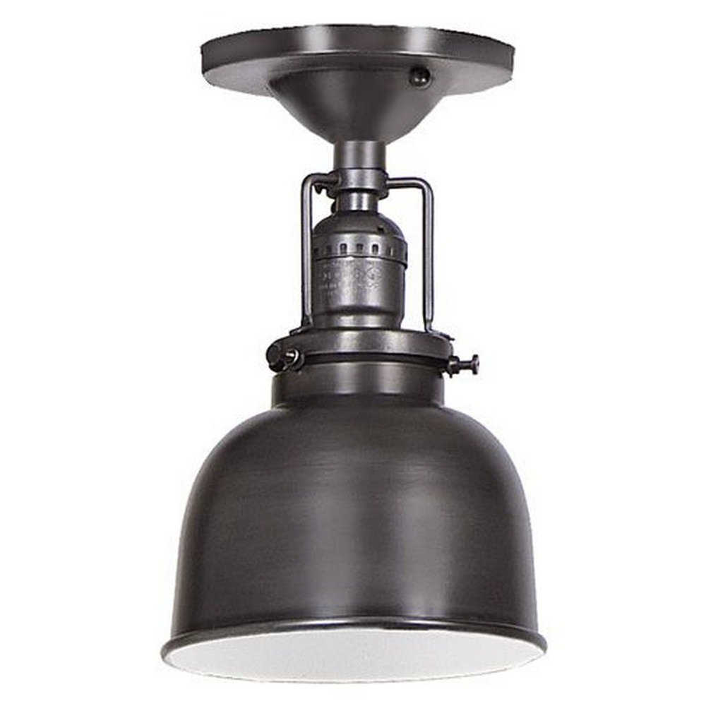 "JVI Designs-1202-18 M2-Union Square - One Light Flush Mount Gun Metal Finish 5"" Wide Metal Shade, Inside Finish White"