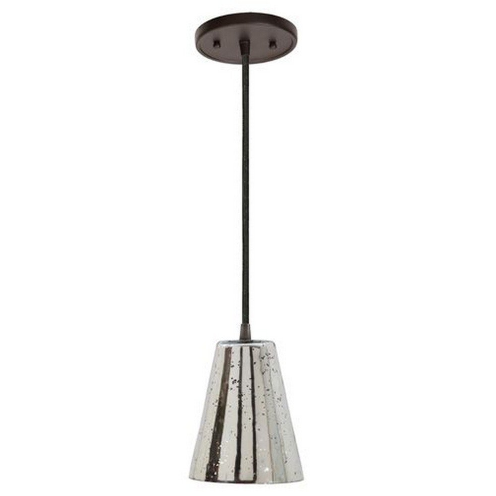 "JVI Designs-1300-18 G2-AM-Grand Central - One Light Mini-Pendant Gun Metal Finish Antique Mercury Ribbed Glass7.5"" Wide, Mouth Blown Glass Medium Cone Shade"