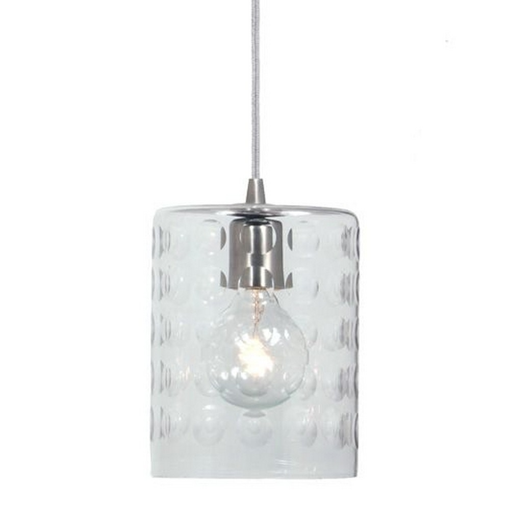 "JVI Designs-1300-18 G10-Grand Central - One Light Mini-Pendant Gun Metal Finish 6"" Wide, Hammered Column Mouth Blown Glass Shade"