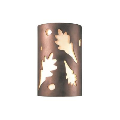 Justice Design 5470W Large Oak Leaves Closed Top Outdoor - ADA Sconce