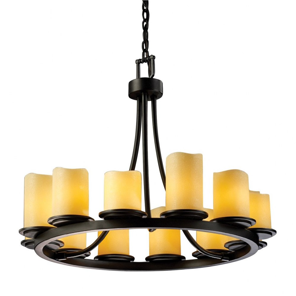 Justice Design - CNDL-8768-14-CREM-MBLK - Dakota 12-Light Ring Chandelier (Short) CREM: Cream Shade Matte Black Finish