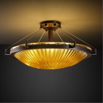 Justice Design GLA-9682 Veneto Luce - Six Light Round Semi-Flush Mount with Ring