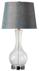 Kenroy Lighting-32255CLR-Decanter - One Light Table Lamp  Clear Finish with Blue Metallic Tapered Shade