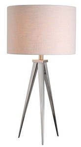 Kenroy Lighting-32262BS-Foster - One Light Table Lamp  Brushed Steel Finish with White Tapered Shade