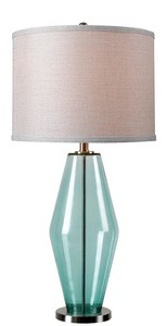 Kenroy Lighting-32315TEAL-Azure - One Light Table Lamp  Teal Finish with Silver Metallic Shade