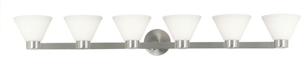Kenroy Lighting-91796BS-Maxwell - Six Light Bath Bar  Brushed Steel Finish with Frosted White Glass