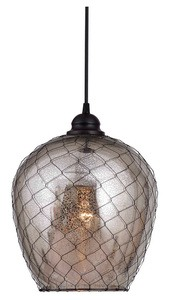 Kenroy Lighting-93038AMER-Nillo - One Light Pendant  Oil Rubbed Bronze Finish with Pale Yellow Glass
