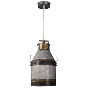 Kenroy Lighting-93046GI-Cudahy - One Light Pendant  Galvanized Iron/Bronze Finish