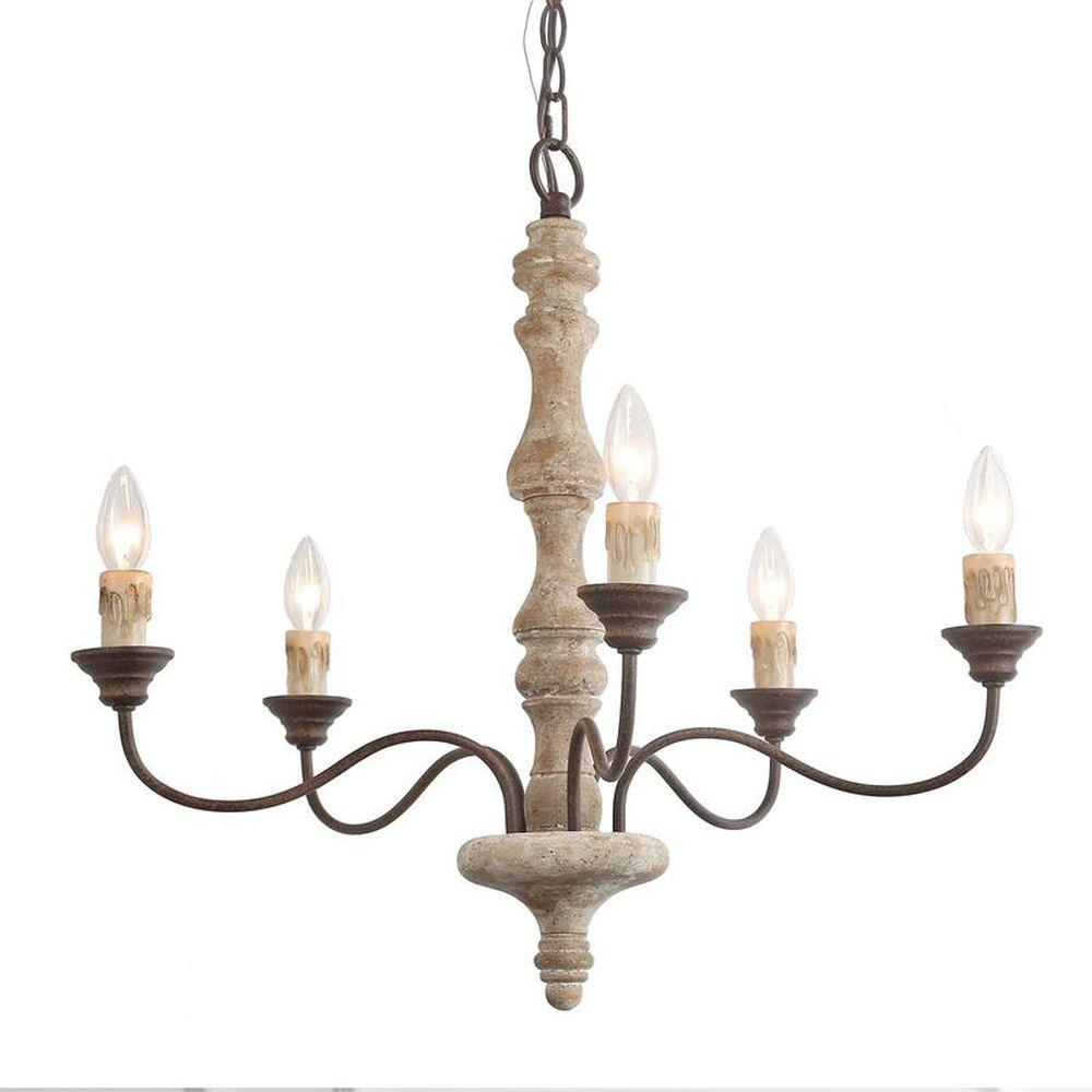 Five Light French Country Chandelier