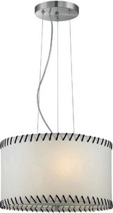 Lite Source-LS-18858-Lavina - Three Light Pendant  Polished Steel Finish with White Paper Shade