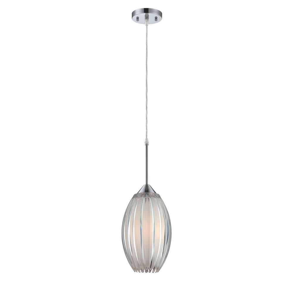 Lite Source-LS-19160-Lotuz - One Light Pendant  Chrome Finish with Clear/Frost Glass