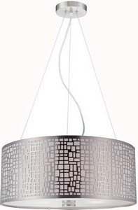 Lite Source-LS-19174PS-Torre - Three Light Pendant  Polished Steel Finish with Linen Glass with Metal Shade