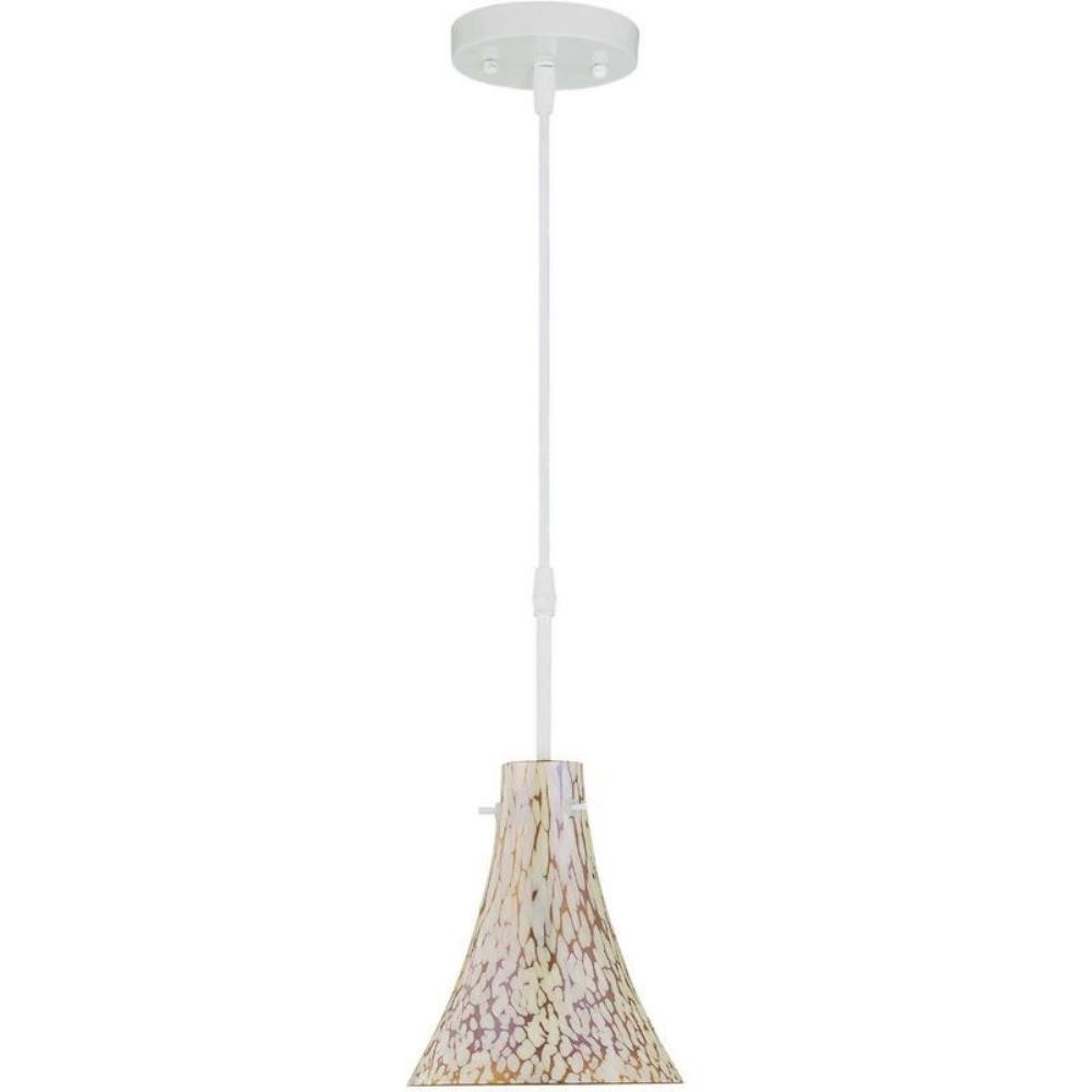 Lite Source-LS-19848SNOW/AM-Kassidy - One Light Pendant  White Finish with Amber Glass