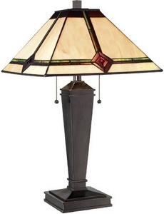 Lite Source-LS-22040-One Light Table Lamp  Bronze Finish with Tiffany Glass