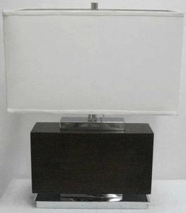 Lite Source-LS-22069-One Light Table Lamp  Chrome/Dark Walnut Finish with White Fabric Shade