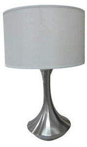 Lite Source-LS-22079-One Light Table Lamp  Polished Steel Finish with White Fabric Shade