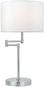 Lite Source-LS-22215PS/WHT-Durango - One Light Table Lamp  Polished Steel Finish with White Fabric Shade