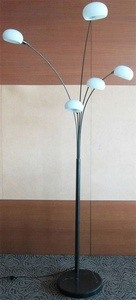 Lite Source-LS-82053G-Five Light Floor Lamp  Gun Metal Finish with Frosted Glass