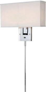 Lite Source-LS-16586C/WHT-Serafino - Wall Lamp  Chrome Finish with White Fabric Shade