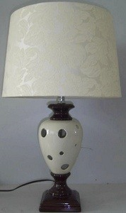 Lite Source-LSF-22022-One Light Table Lamp  Dark Bronze/White Finish with Off-White Fabric Shade
