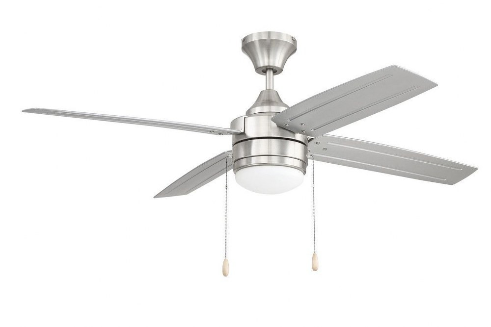 Litex-AK52BNK4L-Aikman - Single Light LED Ceiling Fan - Rated for Damp Locations  Brushed Nickel Finish with Brushed Nickel Blade Finish with White Opal Glass