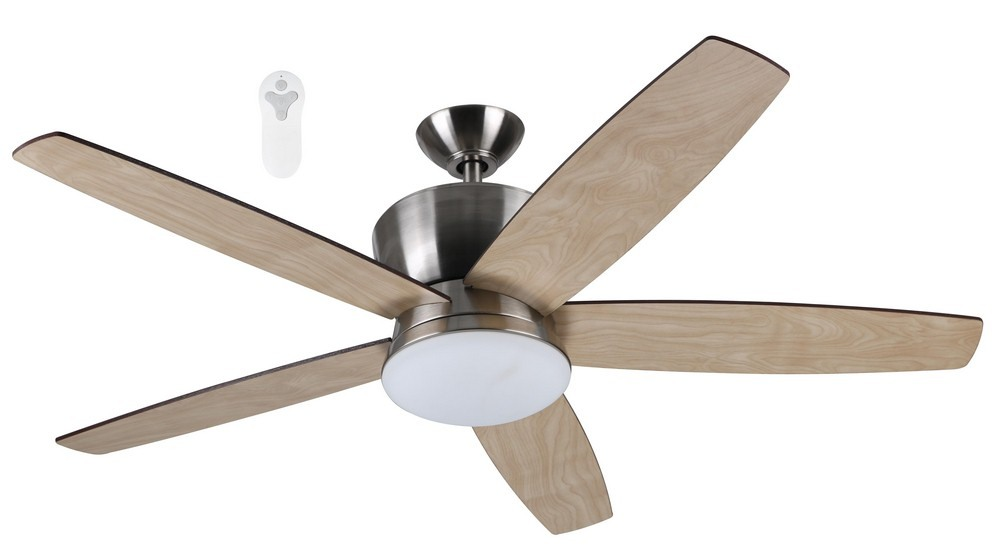 Litex-ALD52BNK5L-Alderson - 52 Inch Single Light LED Ceiling Fan  Brushed Nickel Finish with Ash/Cherry Blade Finish with Opal White Glass