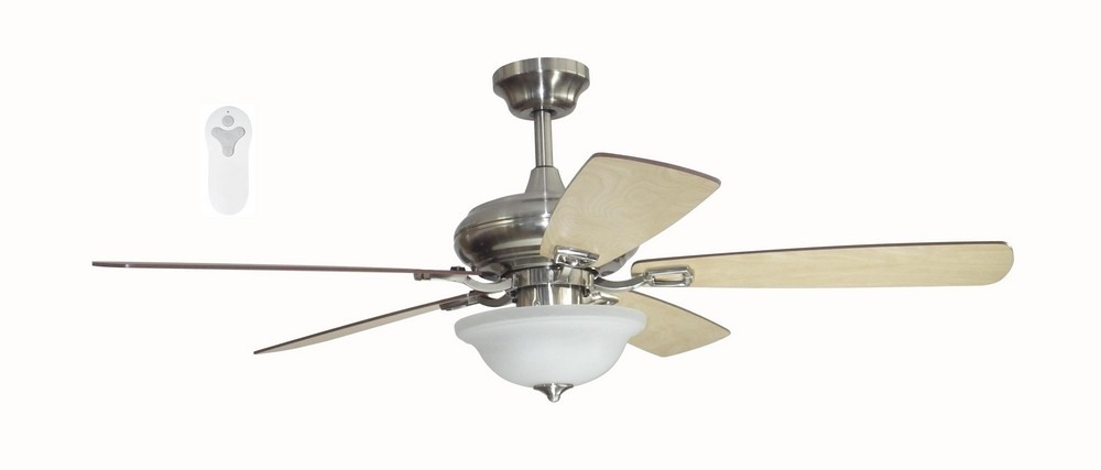 Litex-TLEII52BNK5L-CONNEXXTION - 52 Inch Pre Assembled Ceiling Fan with Single Light  Brushed Nickel Finish with Light Maple/Driftwood Blade Finish with Alabaster Glass