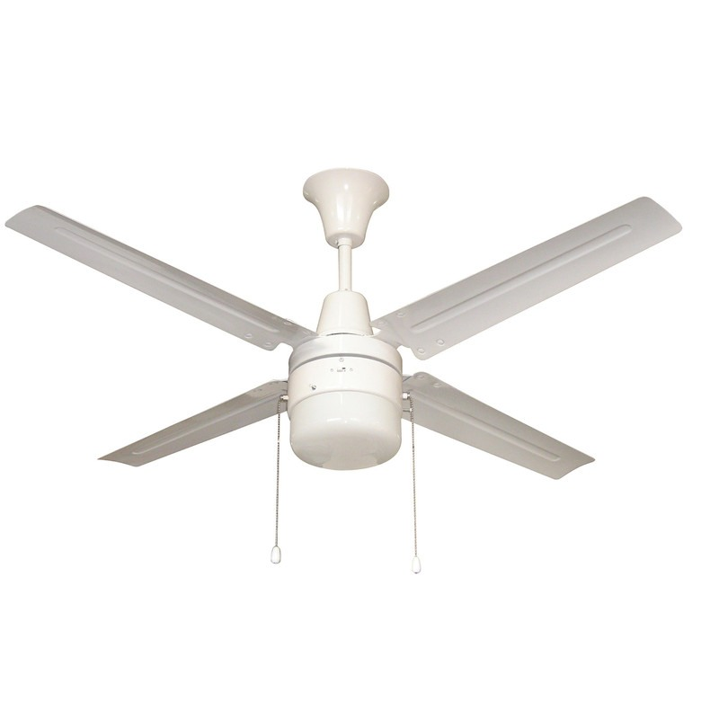 Litex-UB48WW4L-URBANA - 48 Inch Single Light LED Ceiling Fan  White Finish with White Metal Blade Finish with Frosted Glass