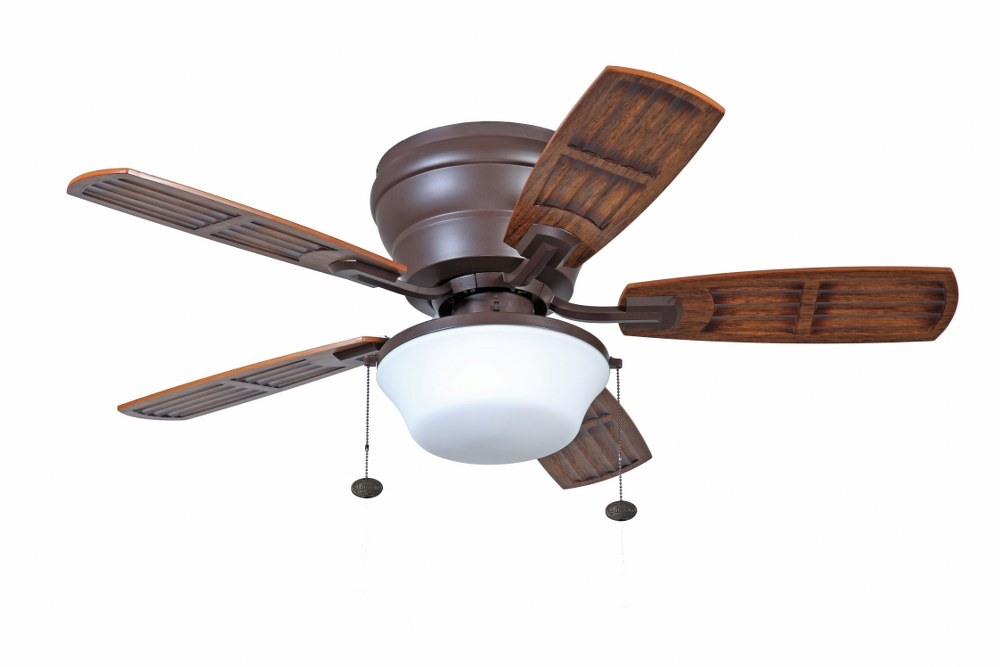 Litex-WH44OSB5L-Soe Mooreland - 44 Inch Ceiling Fan with Light Kit  Oiled Rubbed Bronze Finish with Bronze Blade Finish with Frosted Glass