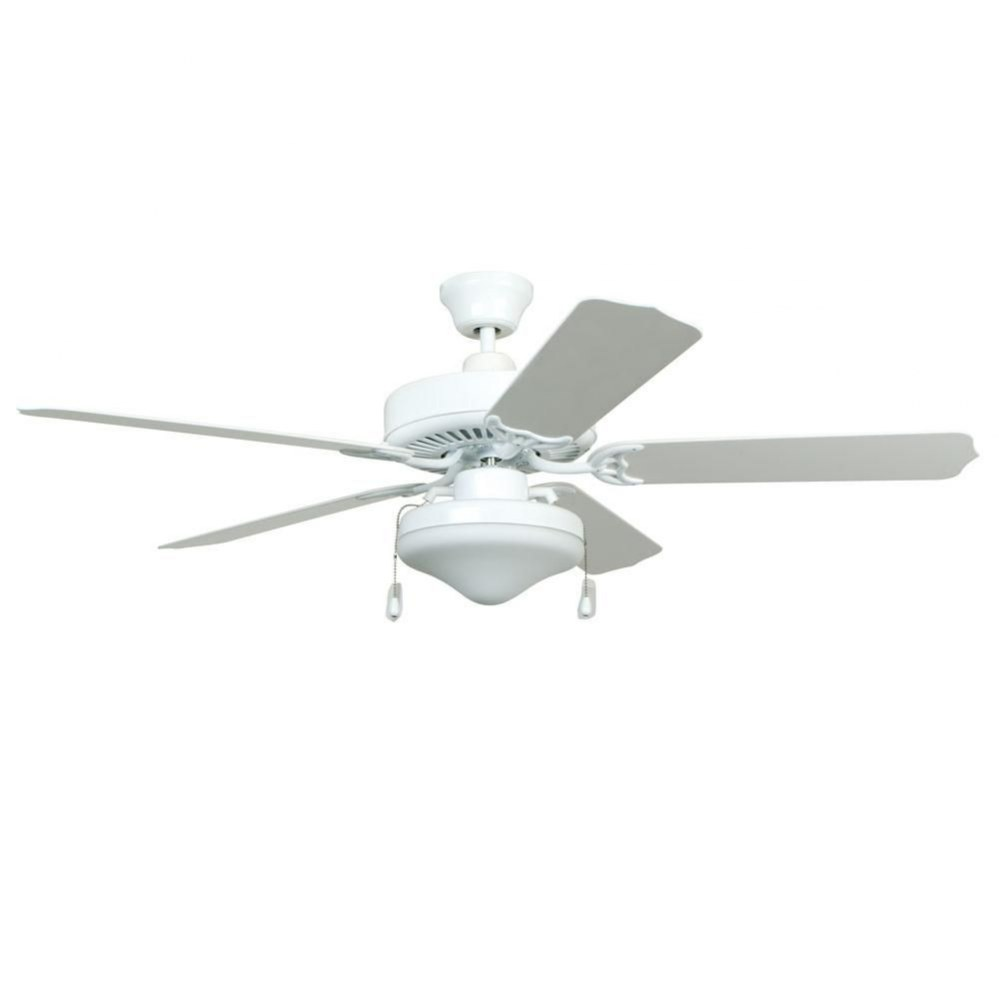 Litex-WOD52WW5L-All Weather - 52 Inch Ceiling Fan with Light Kit  White Finish with White ABS Blade Finish with White Glass