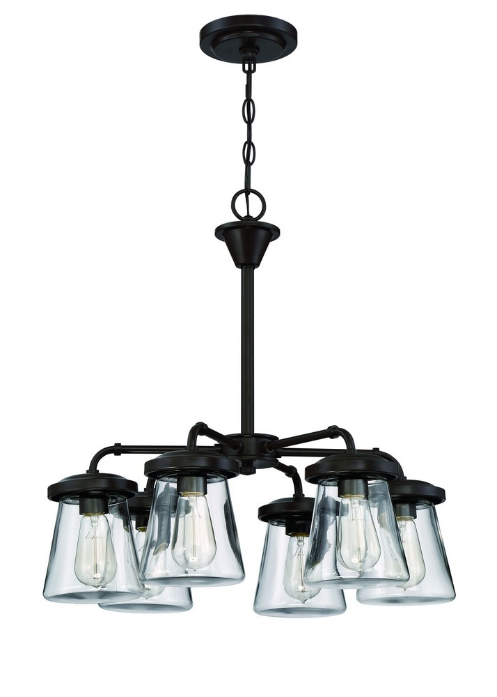 Litex-CH29-6OSB-Six Light Chandelier  One Step Bronze Finish With Clear Glass