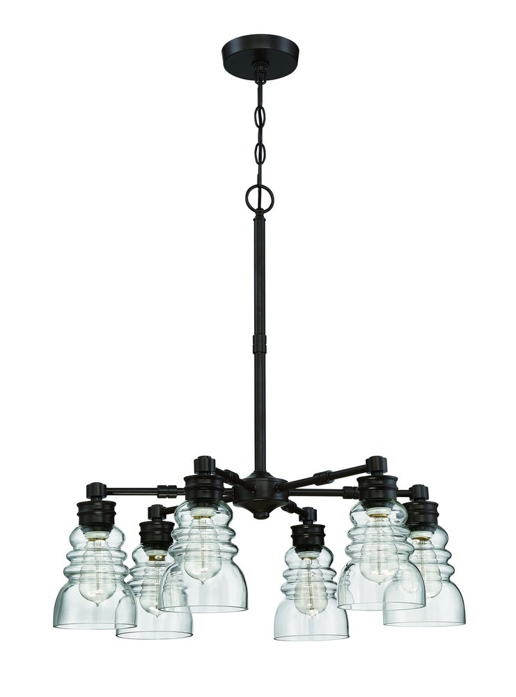 Litex-CH46-6OSB-Six Light Chandelier  One Step Bronze Finish With Clear Glass