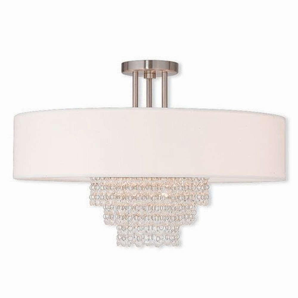 Livex Lighting-51029-91-Carlisle - 5 Light Semi-Flush Mount  Brushed Nickel Finish with Off White Fabric Shade with Clear Crystal