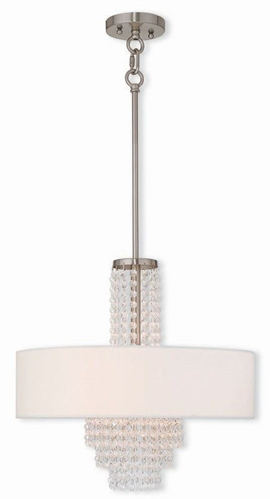 Livex Lighting-51033-91-Carlisle - 4 Light Chandelier  Brushed Nickel Finish with Off White Fabric Shade with Clear Crystal