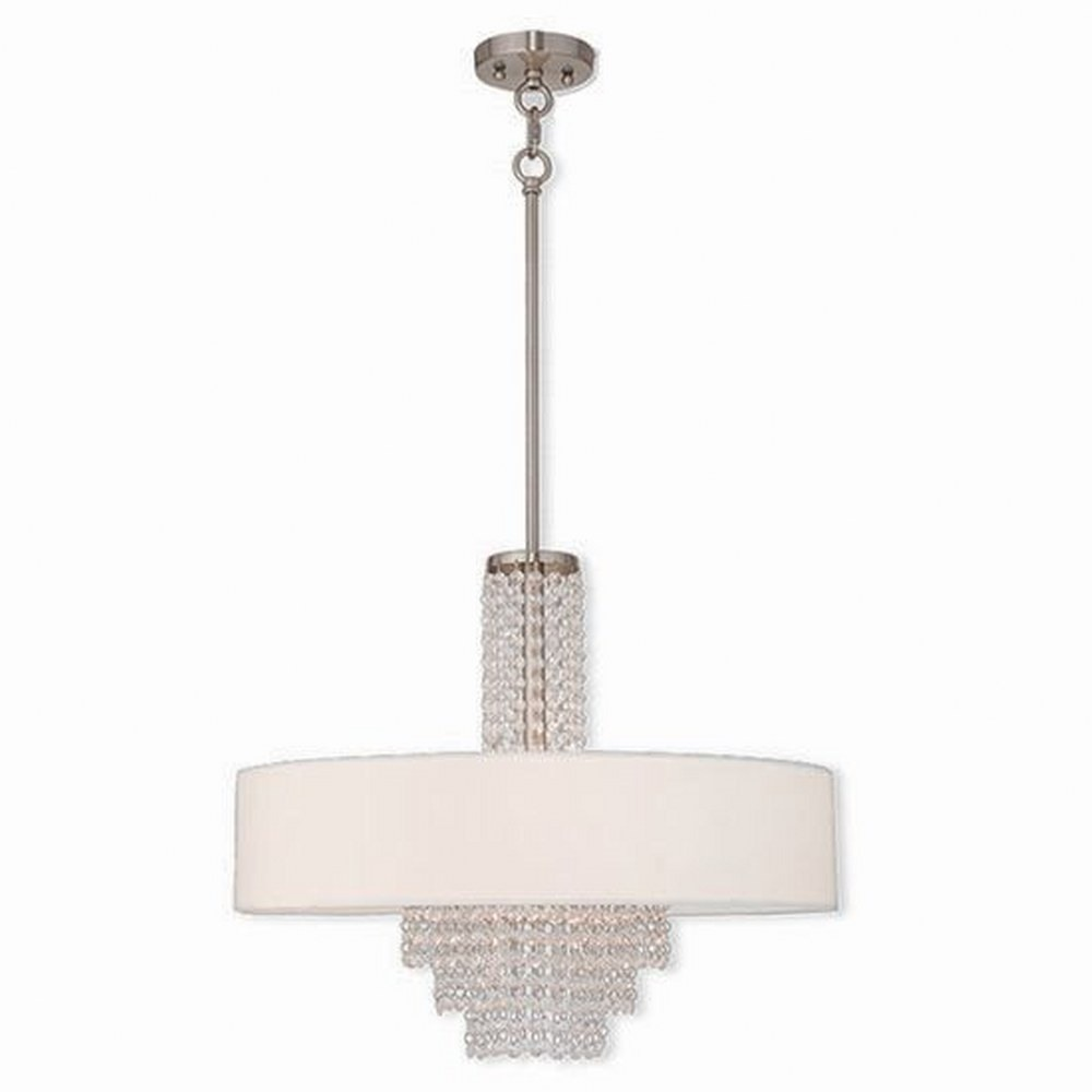 Livex Lighting-51034-91-Carlisle - 5 Light Chandelier  Brushed Nickel Finish with Off White Fabric Shade with Clear Crystal