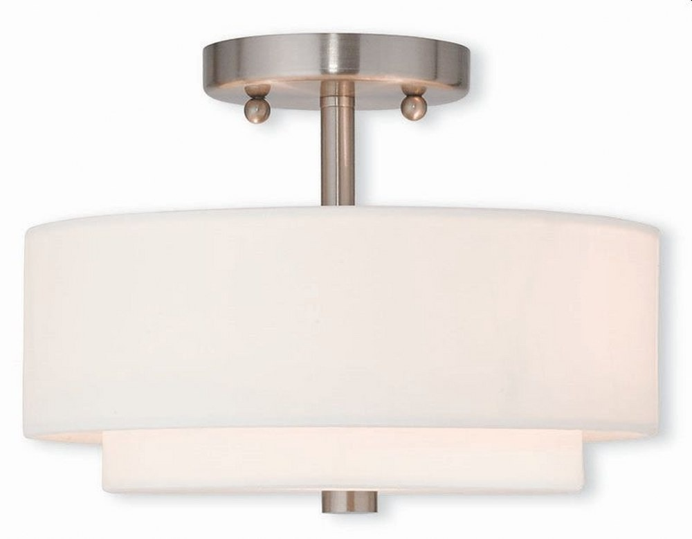 Livex Lighting-51042-91-Claremont - 2 Light Semi-Flush Mount  Brushed Nickel Finish with Off-White Fabric Shade