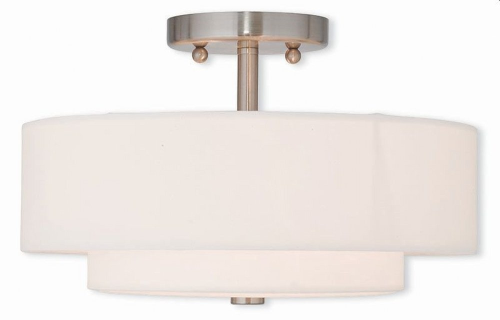 Livex Lighting-51043-91-Claremont - 2 Light Semi-Flush Mount  Brushed Nickel Finish with Off-White Fabric Shade