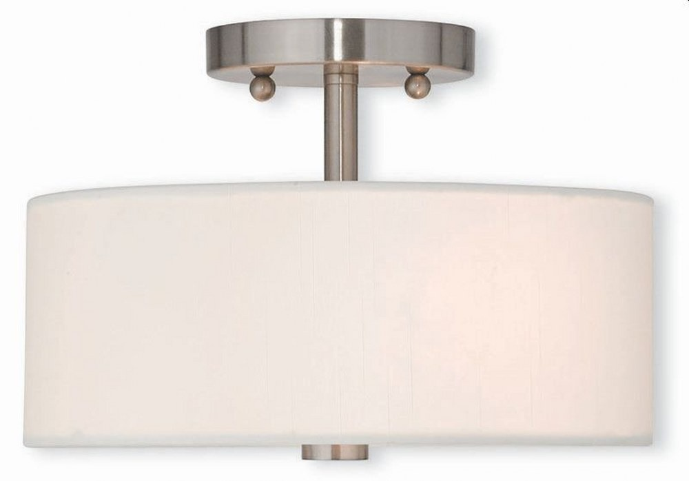 Livex Lighting-51052-91-Meridian - 2 Light Semi-Flush Mount  Brushed Nickel Finish with Off-White Fabric Shade