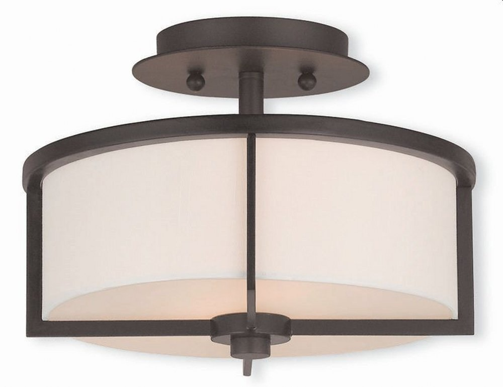 Livex Lighting-51072-07-Wesley - 2 Light Semi-Flush Mount  Bronze Finish with Off-White Fabric Shade