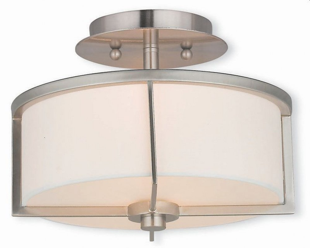 Livex Lighting-51072-91-Wesley - 2 Light Semi-Flush Mount  Brushed Nickel Finish with Off-White Fabric Shade