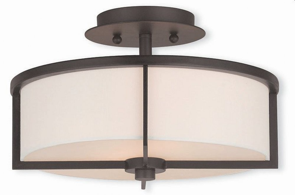 Livex Lighting-51073-07-Wesley - 2 Light Semi-Flush Mount  Bronze Finish with Off-White Fabric Shade