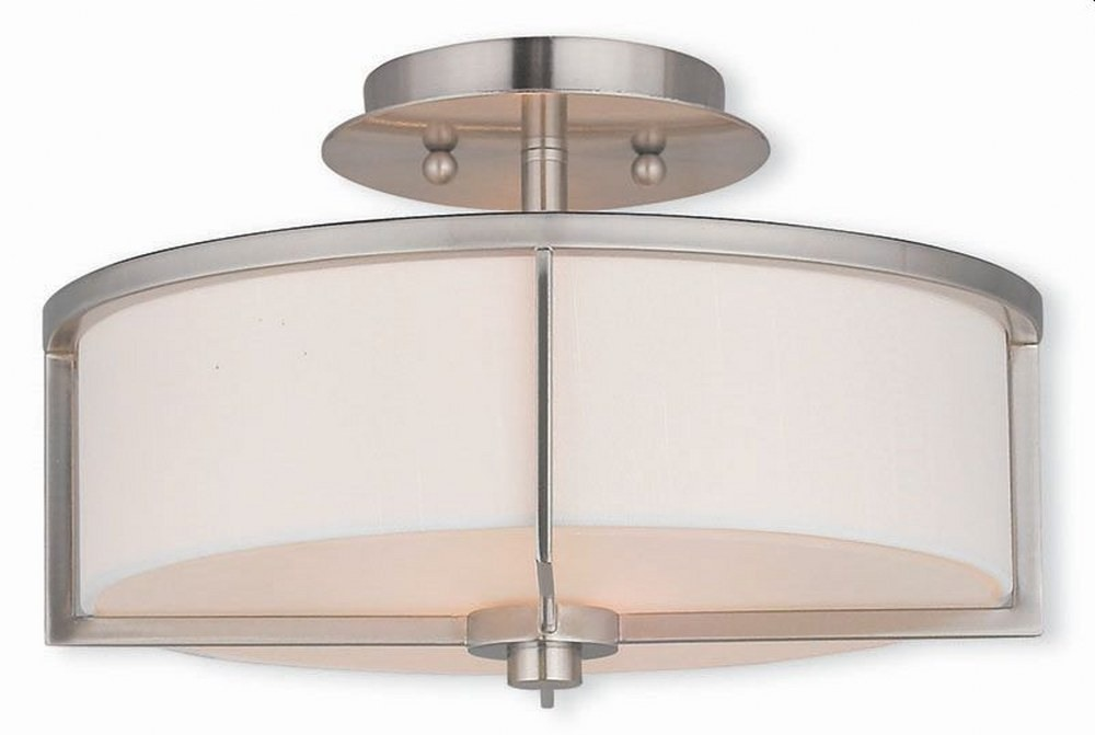 Livex Lighting-51073-91-Wesley - 2 Light Semi-Flush Mount  Brushed Nickel Finish with Off-White Fabric Shade